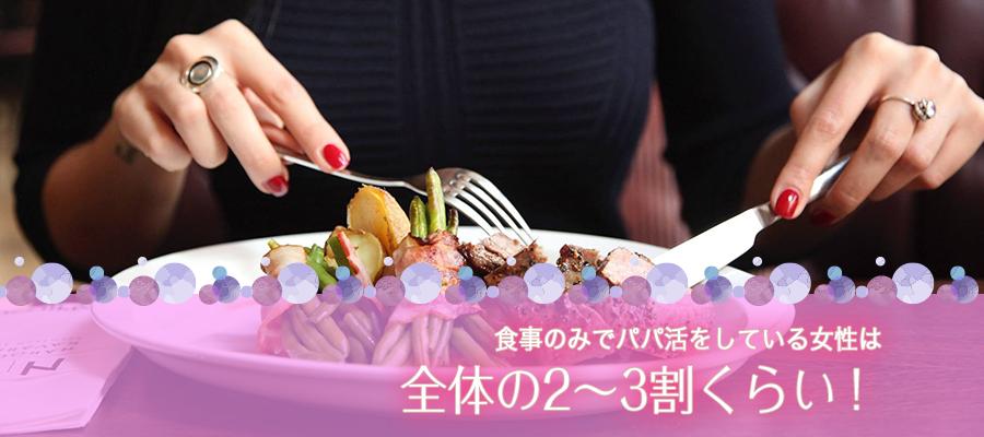 食事のみでパパ活をしている女性は全体の2〜3割くらい!